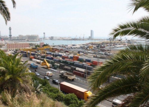 A partial view of Barcelona's harbour from Montjuic