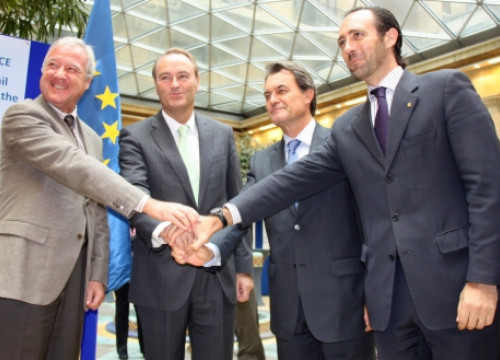 From left to right, the presidents from Murcia, Valencia, Catalonia and the Balearic Islands (by A. Segura)