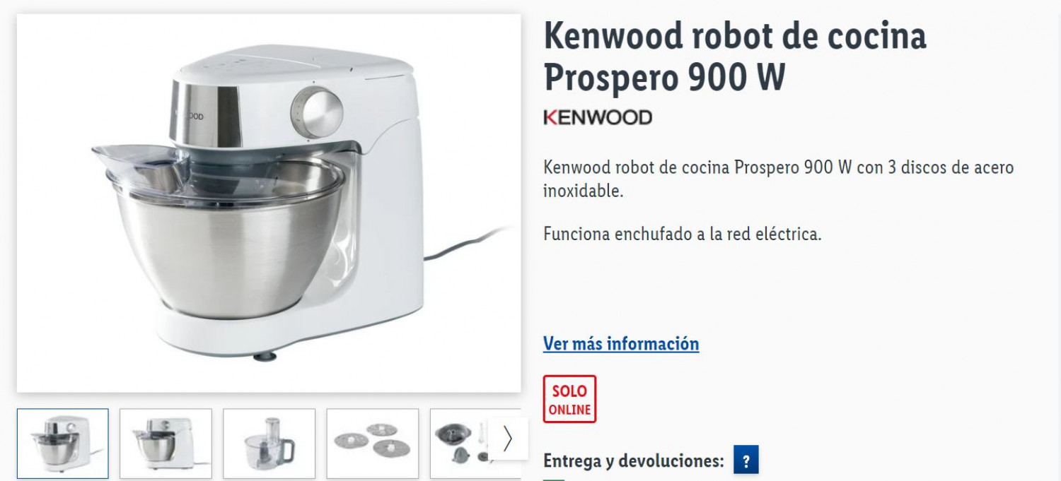 Screenshot from the Lidl website displaying their new Prospero food processor for sale