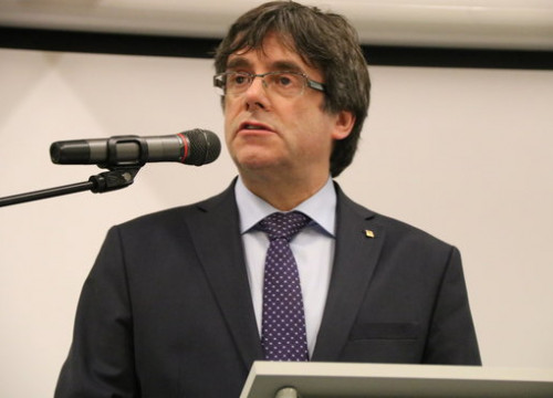 Carles Puigdemont takes part in an event in Ghent (by Blanca Blay)