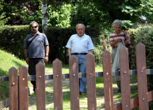 The former Catalan President, Jordi Pujol (centre), this summer (by ACN)