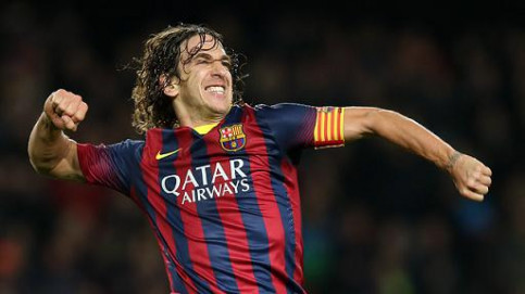 Carles Puyol celebrates his goal against Almería (by FC Barcelona)
