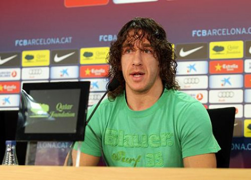 Carles Puyol at this Thursday's press conference (by FC Barcelona)