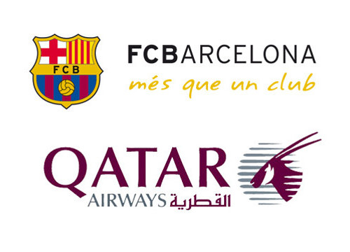 The logos of Barça and Qatar Airways (by FC Barcelona)