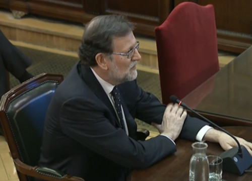 Former Spanish president, Mariano Rajoy, testifying in the Catalan trial