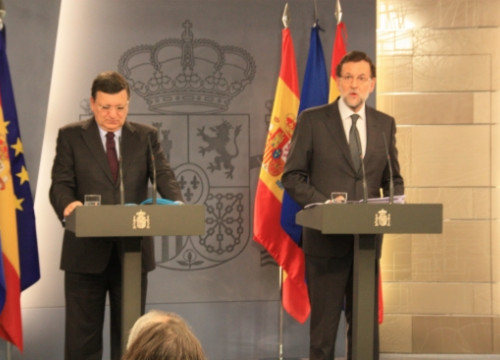 Barroso (left) and Rajoy (right) this Friday in Madrid (by R. Pi)