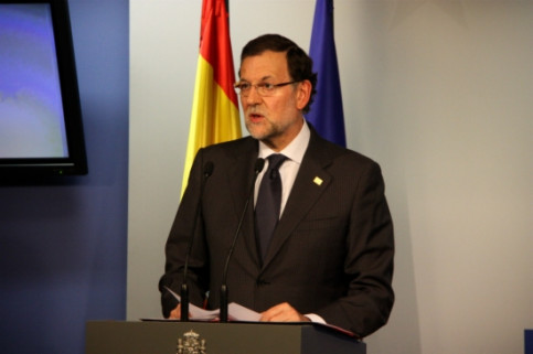 The Spanish Prime Minister, Mariano Rajoy, addressing the press in Brussels on Friday (by A. Casino)