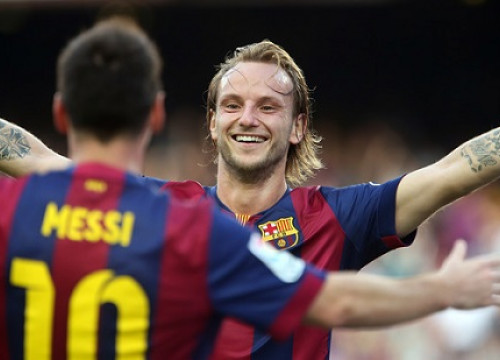 Ivan Rakitic and Leo Messi celebrate one of Barça's 6 goals against Granada (by FC Barcelona)