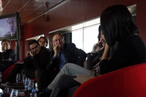 Josep Ramoneda (center), the CCCB's director, presenting the 2011 programme (by A. Aznar)