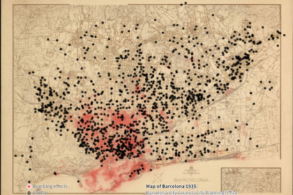 Map of Barcelona showing bomb shelter sites in black as well as areas affected by air raids shown in red (image from Barcelona city council)