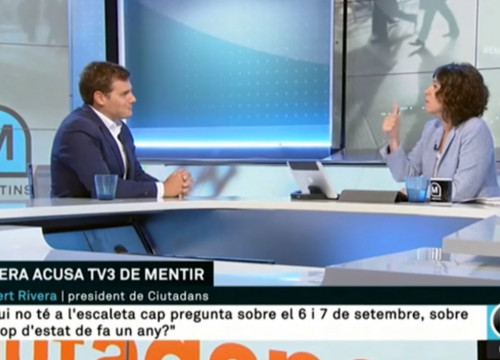 Albert Rivera and Lídia Heredia during the interview on 'Els Matins' on TV3 on September 7 2018 (screenshot of TV3)