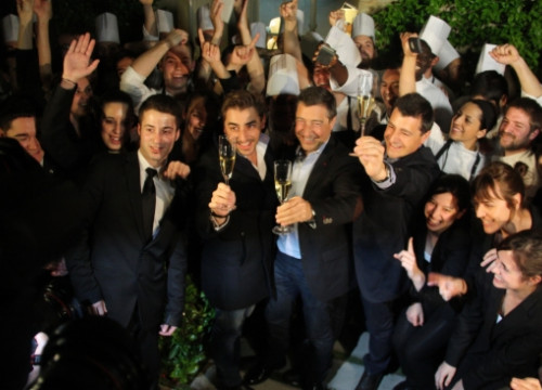 The Roca brothers celebrating with their staff that El Celler de Can Roca was named the world's best restaurant (by ACN)