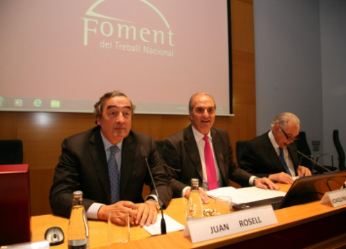 Juan Rosell (left) and Joaquim Gay de Montellà (centre) this Monday (by Foment)
