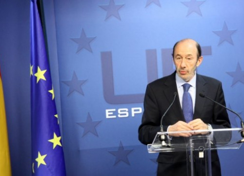 Alfredo Pérez Rubalcaba, Spanish Deputy Prime Minister and Government's spokesperson, yesterday in Brussels (by R. Correa)