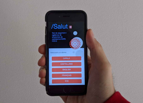Catalan health department's new app, Stop Covid-19 Cat, which monitors the symptoms of the coronavirus (by Cillian Shields)