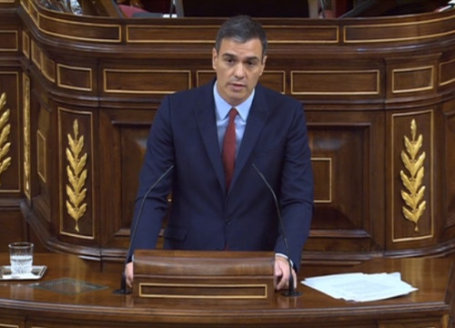 Socialist leader Pedro Sánchez during the presidential debate. (Photo: Spanish Congress)