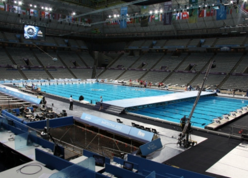 The swimming pool at the Palau Sant Jordi arena is ready for the World Championships (by M. Fernández Noguera)