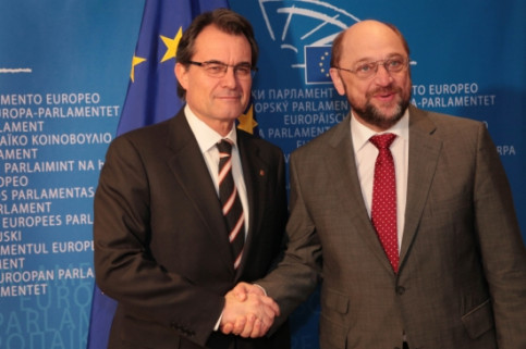 The Catalan President, Artur Mas (left), with the President of the European Parliament, Martin Schulz (right) (by J. Bedmar)