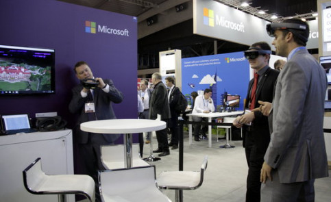 Image of the Microsoft exhibitor at the Smart City Expo World Congress on the 15th of November 2016 in Barcelona (by ACN)