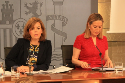 The Spanish Deputy Prime Minister (left) on Friday (by La Moncloa)