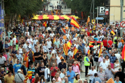 The anti-independence demonstration in Tarragona, which gathered 7,000 according to local police (by R. Segura)