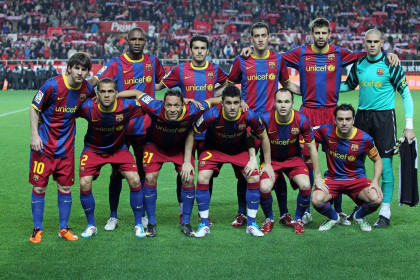 The team before Seville's game (by FC Barcelona)