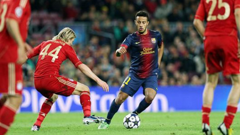 Thiago  Alcántara playing with Barça against Bayern Munich in May 2013 (by FC Barcelona)