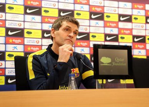 Barça's Manager, Tito Vilanova, at this Friday's press conference (by FC Barcelona)