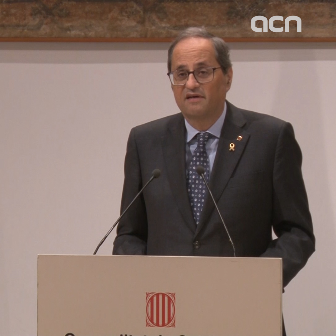 Catalan president Torra celebrates pro-independence parties electoral results