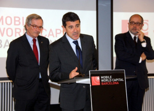 From left to right: Trias, Cordón and Puig presenting the Mobile Ready initiative (by J. R. Torné)