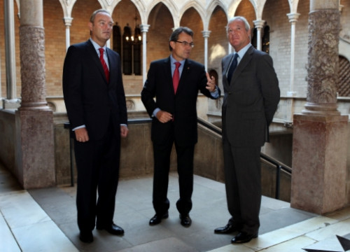 Alberto Fabra (left) and Ramón Luís Valcárcel (right) have been received by the Catalan President (centre) (by O. Campuzano)