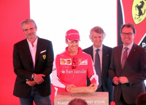 Sebastian Vettel, Ferrari's Formula One Driver, at the first stone ceremony together with the Catalan President, Artur Mas (right) (by R. Segura)