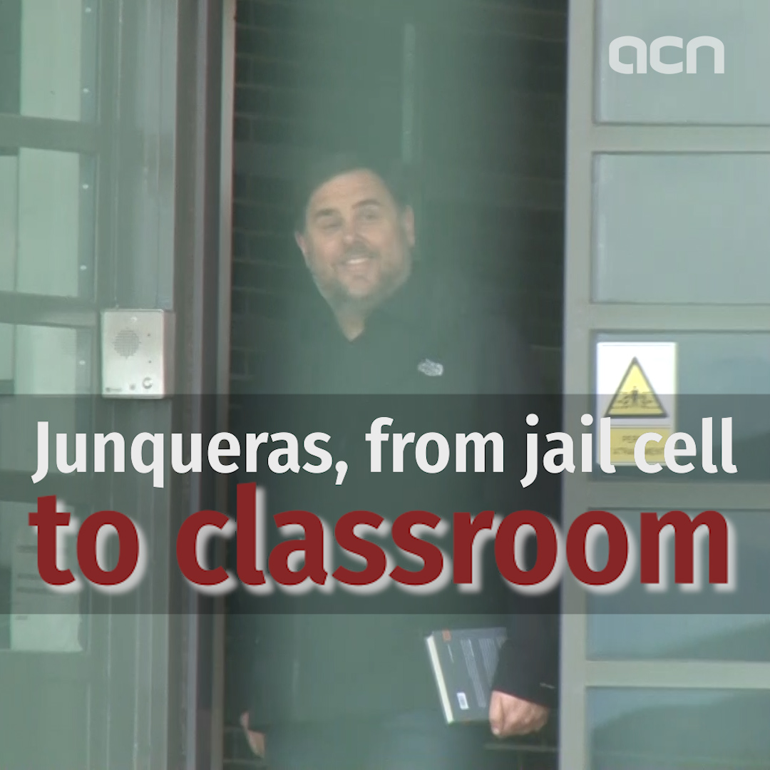Oriol Junqueras leaves prison on temporary release to teach at university