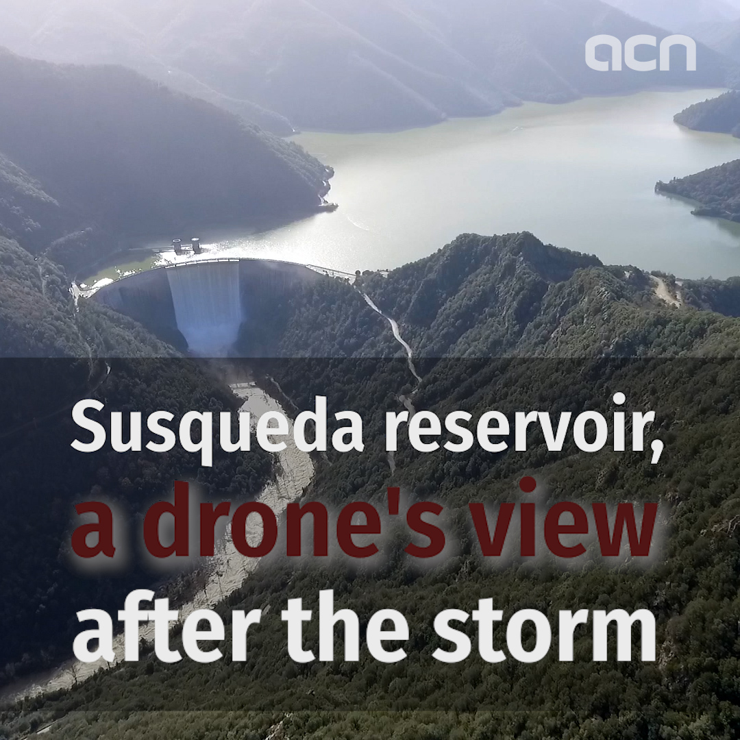 Drone footage of Susqueda Reservoir following Storm Gloria