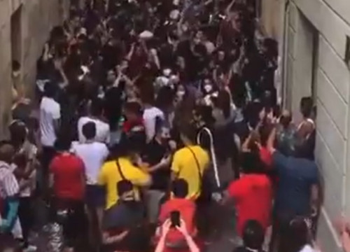 Screenshot of a viral video showing street celebrations in Vilafranca del Penedès on August 29, 2020