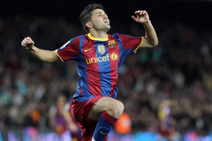 David Villa after scoring a goal against Sevilla (by FC Barcelona)