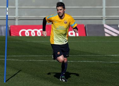 Barça player, David Villa, training on Tuesday morning (by FC Barcelona)