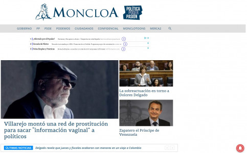 Screenshot of 'moncloa.com' website with the former commissioner leaked conversation in the front page on September 27, 2018