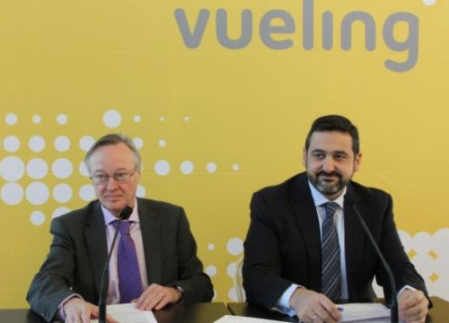 Vueling's President, Josep Piqué (left), and the airline's CEO, Alex Cruz (by E. Romagosa)
