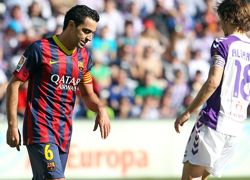 Xavi at Saturday's game against Valladolid (by FC Barcelona)