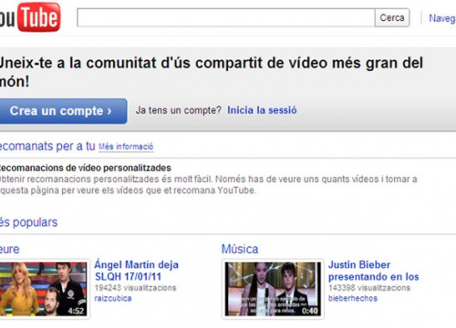 YouTube's homepage in Catalan (by YouTube / ACN)
