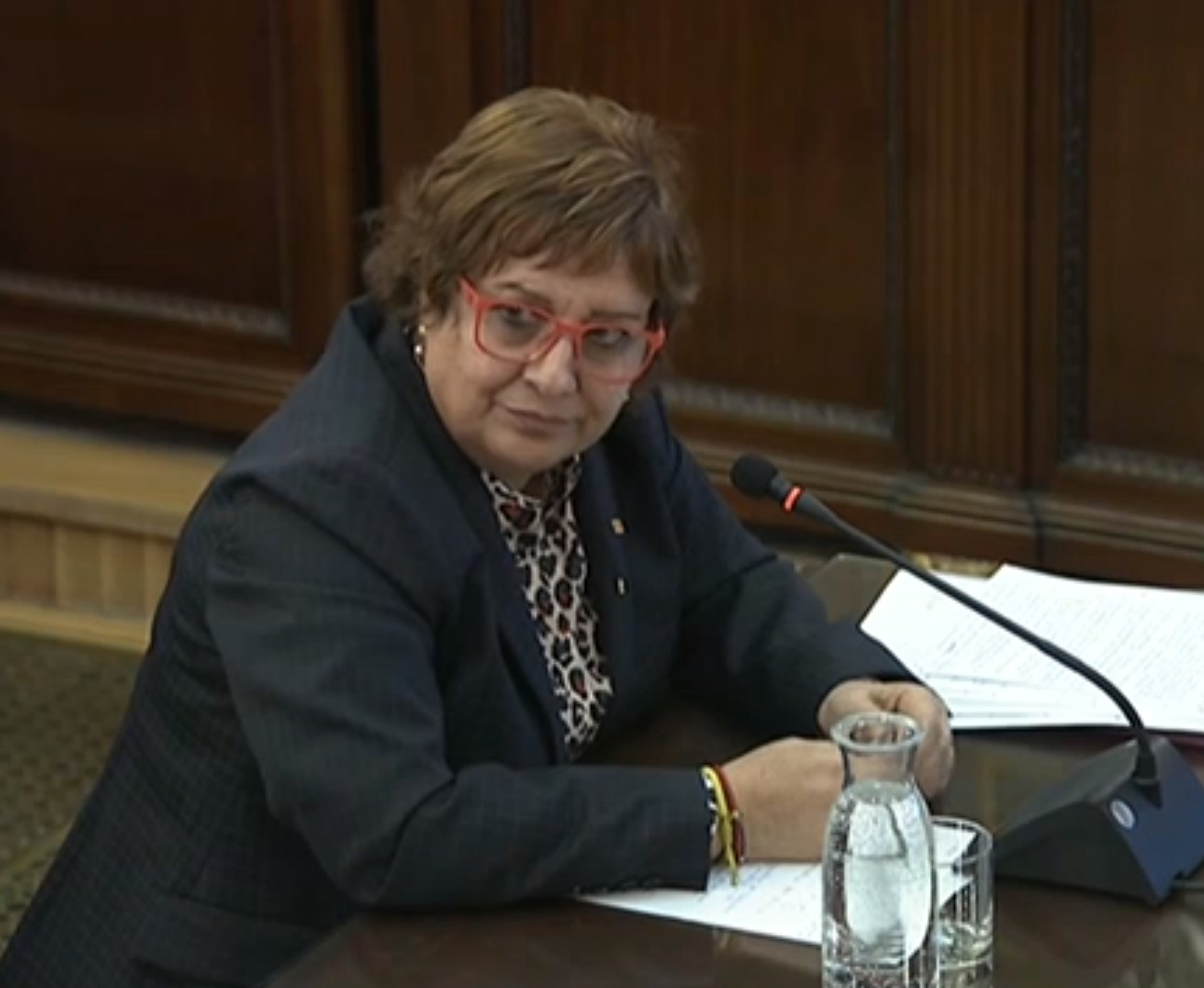 A screenshot of Dolors Bassa testifying in the Spanish Supreme Court