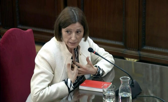 The former Catalan parliament speaker, Carme Forcadell, testifying in Spain's Supreme Court on February 26, 2019
