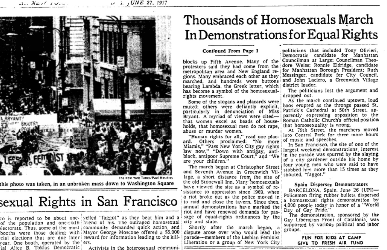 The New York Times mentioned the LGTB march in Barcelona in its edition on June 27, 1977