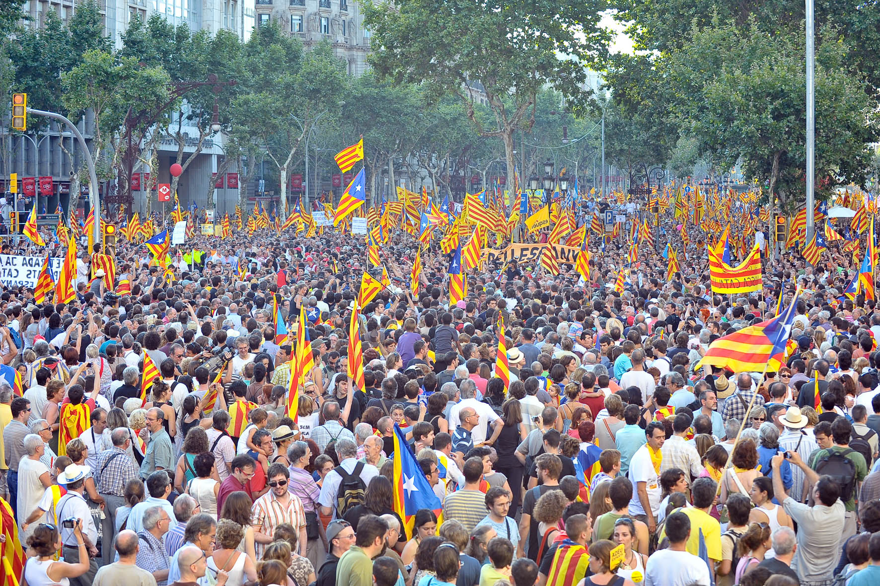 Protest in Barcelona on July 10, 2020, against the Constitutional Court ruling on Catalonia's Statute of Autonomy Mikel Laburu)