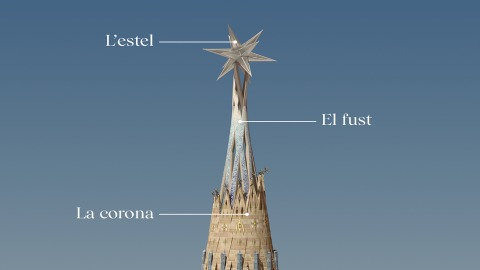 A star will sit atop the shaft to complete the tower of the Virgin Mary (Sagrada Família)