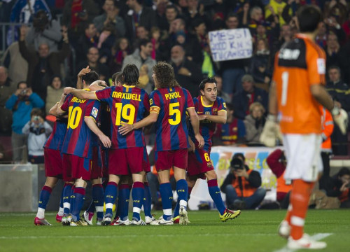 Barça players celebrate a goal against Real Sociedad (by FC Barcelona)