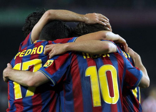 Barça Team players celebrate a goal against Bilbao in the last Spanish League game (by FC Barcelona)
