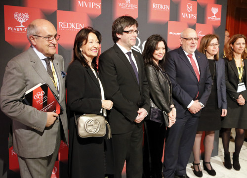 The Catalan President, Carles Puigdemont, and the Business Minister, Jordi Baiget, during the inauguration of the 080 Barcelona Fashion (by ACN)