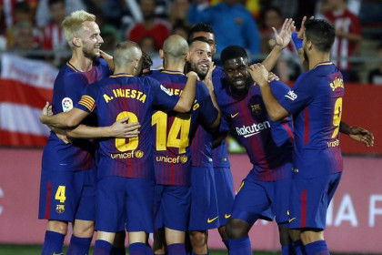 Barcelona celebrate going a goal ahead on Saturday evening (by FCB)